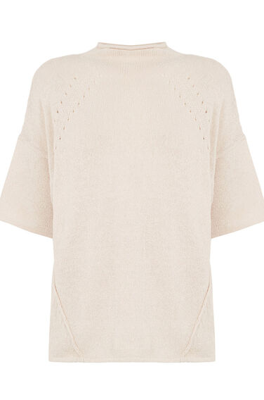 Warehouse, BOXY LINEN MIX TEE Cream 0