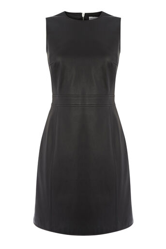 Warehouse, Faux Leather Dress Black 0