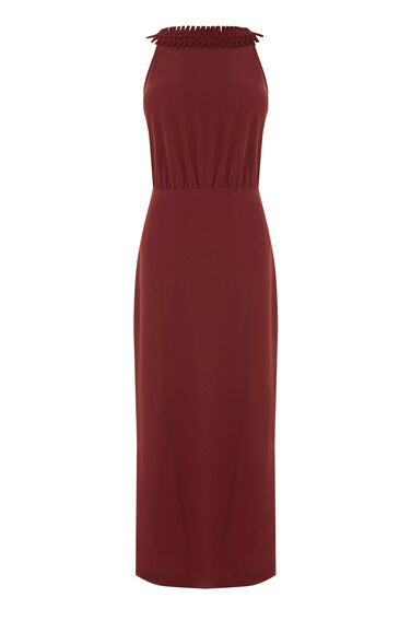Warehouse, CRISS CROSS V BACK DRESS Copper Colour 0