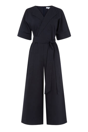 Warehouse, COTTON WRAP JUMPSUIT Navy 0