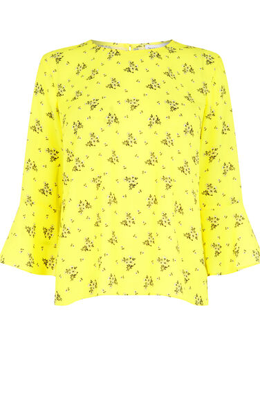 Warehouse, DAISY BUNCH FLUTED SLEEVE TOP Yellow 0