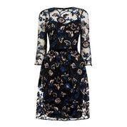 Warehouse, Embroidered And Sequin Dress Navy 0