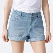 Warehouse, Turn Up Denim Shorts Light Wash Denim 4