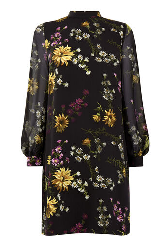 Warehouse, DUTCH FLORAL PRINT SHIFT DRESS Black Pattern 0