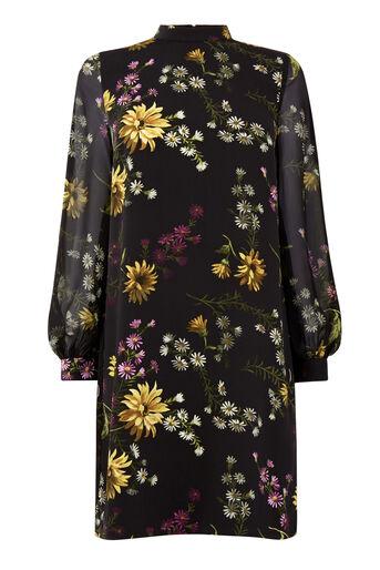 Warehouse, DUTCH FLORAL PRINT SHIFT DRESS Black Pattern 0