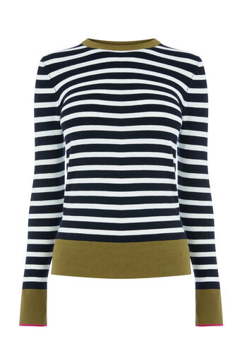 Warehouse, BRETON BLOCK STRIPE JUMPER Navy 0