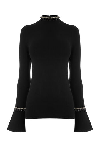 Warehouse, EMBELLISHED FLARE CUFF JUMPER Black 0