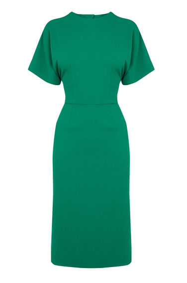 Warehouse, OPEN BACK MIDI DRESS Bright Green 0