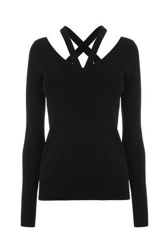 Warehouse, CUT OUT V NECK JUMPER Black 0