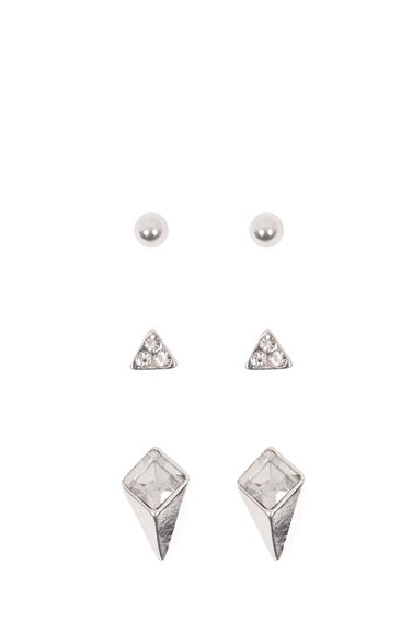 Warehouse, 3D Diamante Earring Pack Silver Colour 0