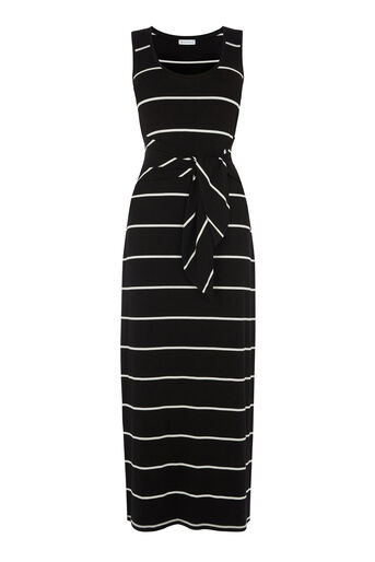 Warehouse, STRIPE TIE FRONT MAXI DRESS Black Stripe 0