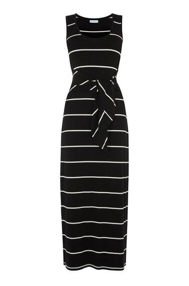 Warehouse, STRIPE TIE FRONT MAXI DRESS Black Stripe 0
