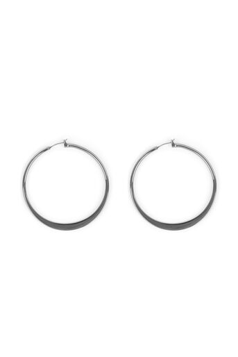 Warehouse, Flat Hoop Earrings Pewter 0