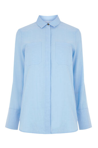 Warehouse, RELAXED TWIN POCKET SHIRT Light Blue 0