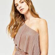 Warehouse, FOIL PLISSE ONE SHOULDER DRESS Light Pink 4