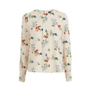 Warehouse, Spaced Floral Puff Sleeve Top Neutral  Print 0