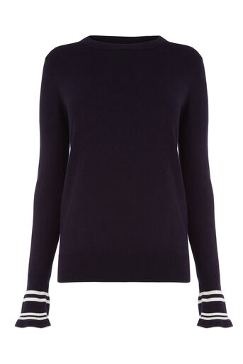 Warehouse, FLARED STRIPE CUFF JUMPER Navy 0
