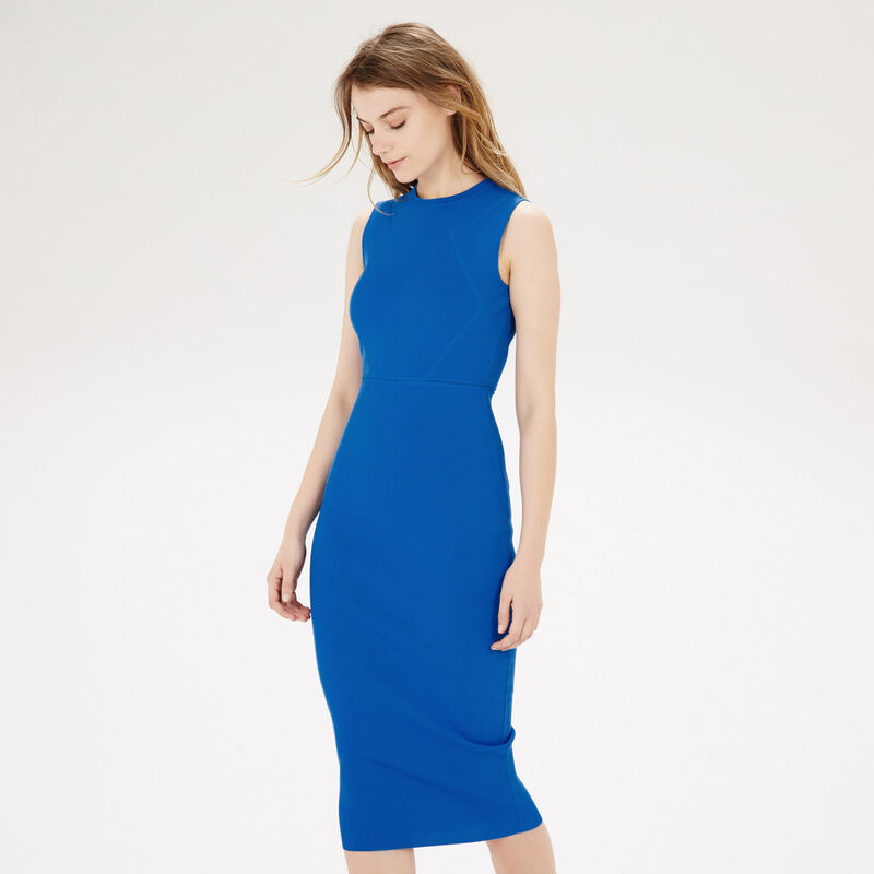 Warehouse, KNITTED BODYCON DRESS Bright Blue 1