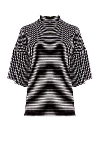 Warehouse, STRIPE FLUTE SLEEVE RIB TOP Black Stripe 0