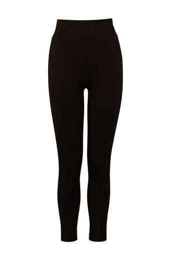 Warehouse, ZIP SIDE PONTE LEGGINGS Black 0
