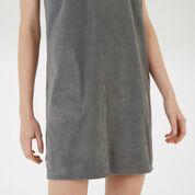 Warehouse, Suedette Pocket Shift Dress Light Grey 4