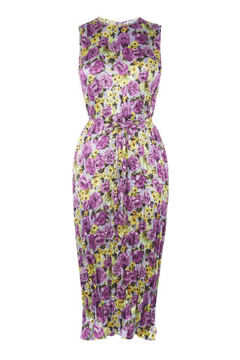Warehouse, PEONY POP CRINKLE MIDI DRESS Lilac 0