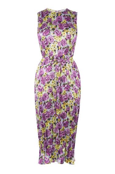 Warehouse, Gekreukte midi-jurk met pioenrozenprint Lila 0