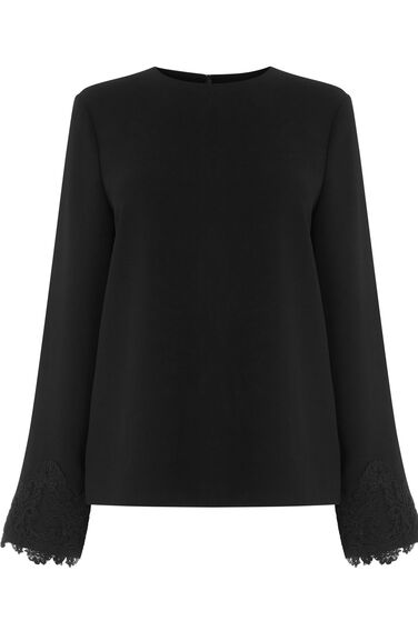 Warehouse, LACE CUFF TOP Black 0