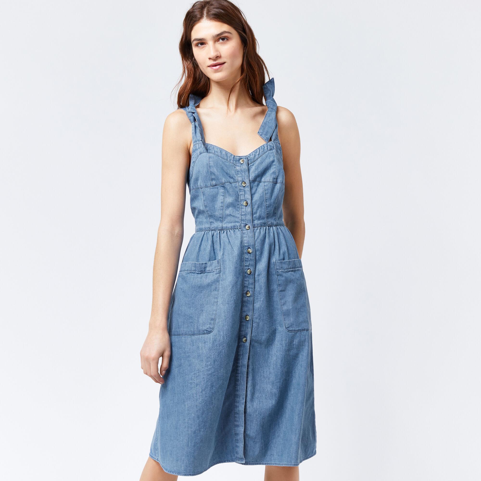 Warehouse, Tie Strap Pocket Dress Light Wash Denim 1
