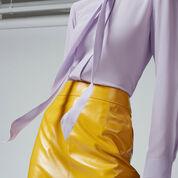 Warehouse, SILK TIE NECK BLOUSE Lilac 4