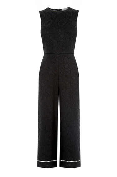 Warehouse, LACE JUMPSUIT Black 0