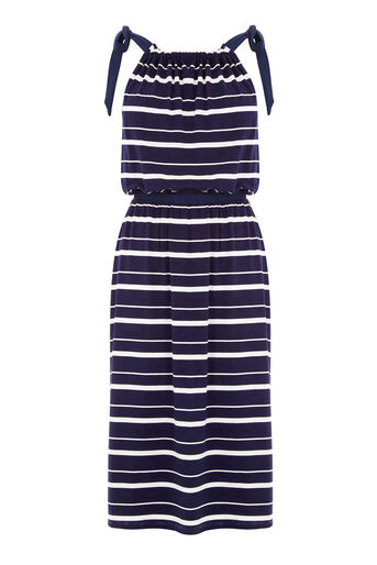 Warehouse, STRIPE TIE SHOULDER DRESS Blue Stripe 0