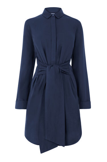 Warehouse, BELTED COTTON SHIRT DRESS Navy 0
