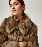 Warehouse, SHORT FAUX FUR COAT Brown 4