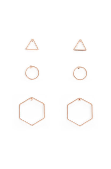 Warehouse, MIX GEO TRIPLE EARRING PACK Bronze Colour 0