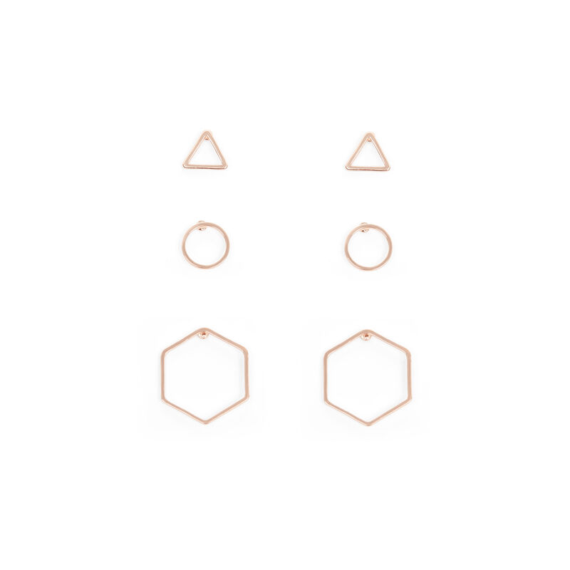 Warehouse, MIX GEO TRIPLE EARRING PACK Bronze Colour 1