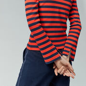 Warehouse, STRIPE RIB TOP Red Stripe 4