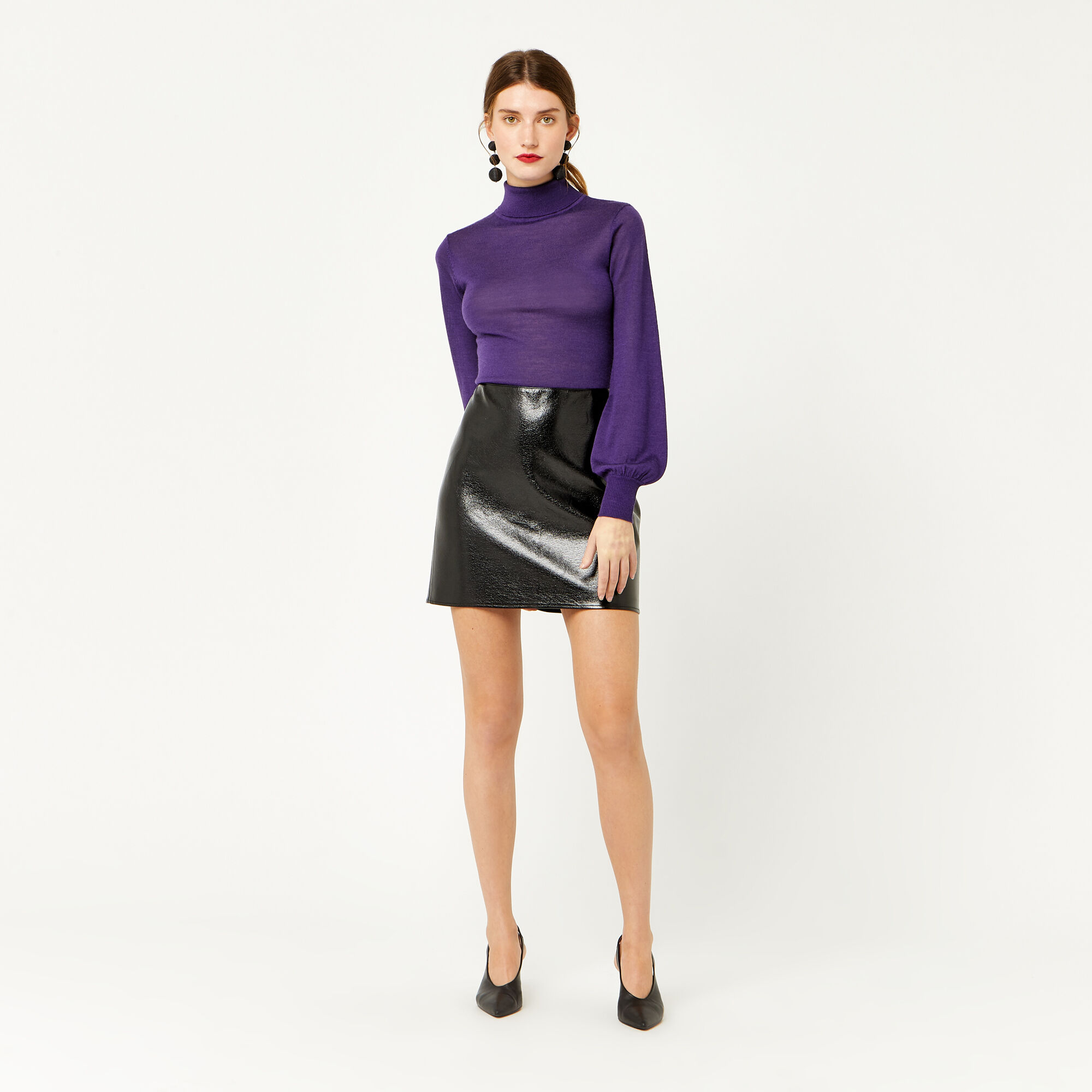 Warehouse, FAUX LEATHER PATENT SKIRT Black 1