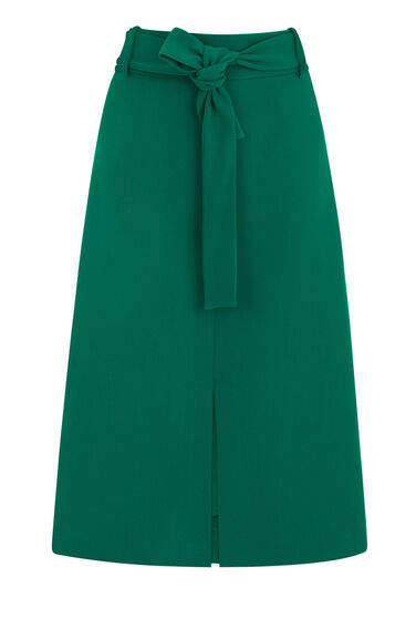 Warehouse, BELTED MIDI SKIRT Bright Green 0