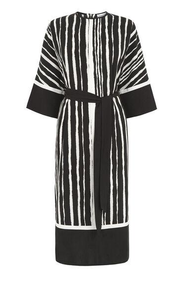 TORN STRIPE SHIFT DRESS