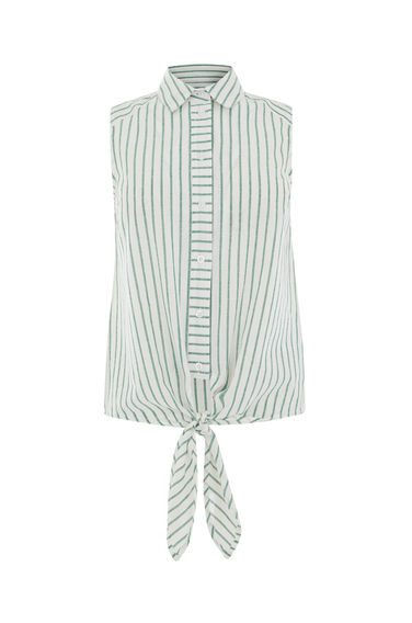 CASUAL SLEEVELESS STRIPE SHIRT