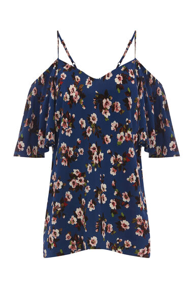 MAE FLORAL FRILL SLEEVE TOP