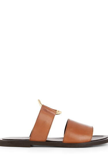 RING DETAIL LEATHER SANDALS