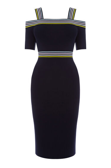 STRIPE TRIM BARDOT KNIT DRESS