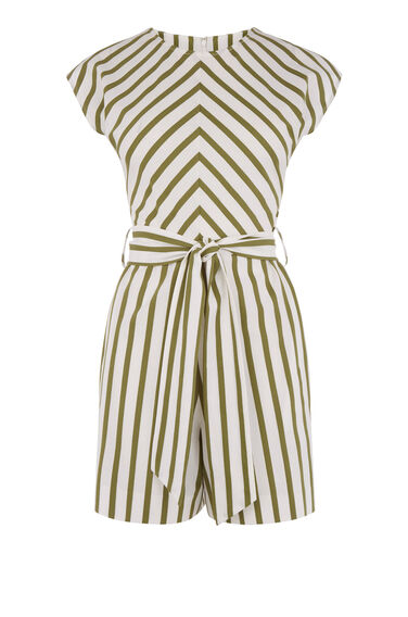 STRIPE BELTED PLAYSUIT