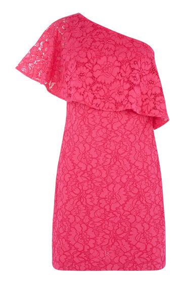 BONDED LACE ONE SHOULDER DRESS