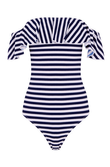 STRIPE BARDOT SWIMSUIT