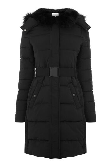 Long Panel Belted Wadded Coat