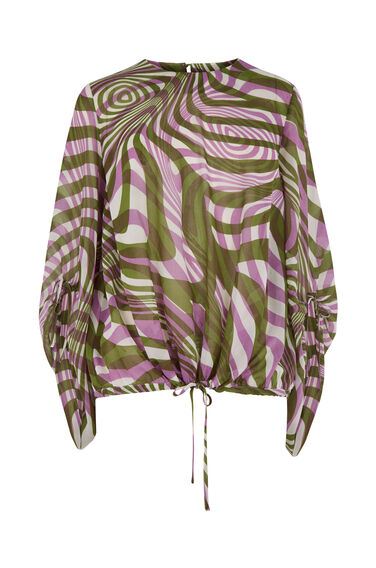 WARP PRINT RUCHED SLEEVE TOP