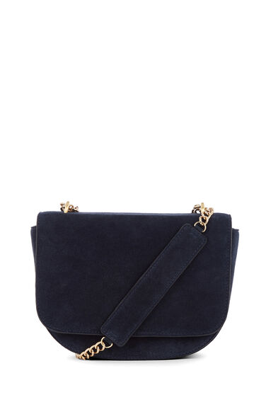 CHAIN DETAIL SUEDE SADDLE BAG